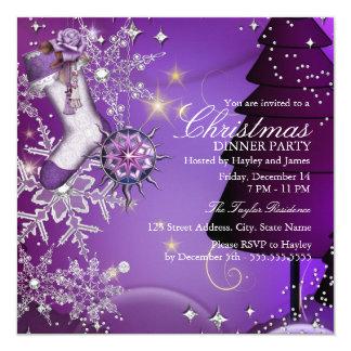 Fiesta de cena cristalino púrpura de navidad del anuncio personalizado