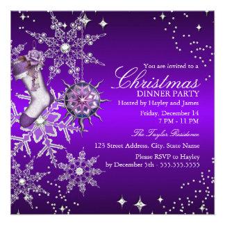 Fiesta de cena cristalino púrpura de navidad del anuncios