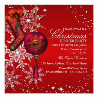Fiesta de cena cristalino rojo de navidad del copo invitacion personalizada