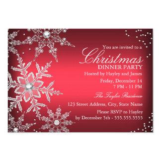 Fiesta de cena cristalino rojo de navidad del copo invitación 12,7 x 17,8 cm