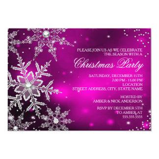 Fiesta de cena cristalino rosado de navidad del anuncio personalizado