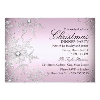 Fiesta de cena cristalino rosado de navidad del anuncios