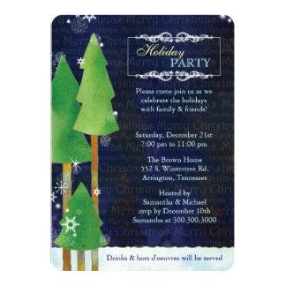 Fiesta de cena de navidad de los árboles del país invitación 12,7 x 17,8 cm