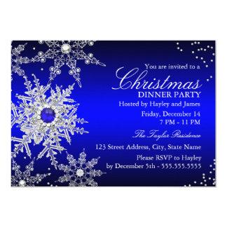 Fiesta de cena de navidad del copo de nieve de la invitación 12,7 x 17,8 cm