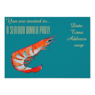 Fiesta de cena del Bbq de la gamba del camarón de Invitación 12,7 X 17,8 Cm
