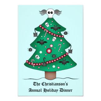 Fiesta de cena gótico lindo del árbol de navidad invitación 12,7 x 17,8 cm