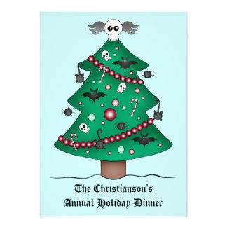 Fiesta de cena gótico lindo del árbol de navidad invitaciones personalizada