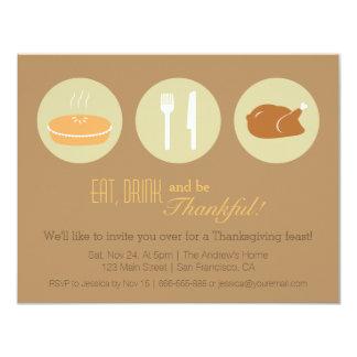 Fiesta de cena minimalista moderno de la acción de invitación 10,8 x 13,9 cm