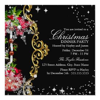 Fiesta de cena negro verde rojo de navidad del invitación 13,3 cm x 13,3cm