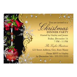 Fiesta de cena rojo de navidad del copo de nieve invitaciones personalizada