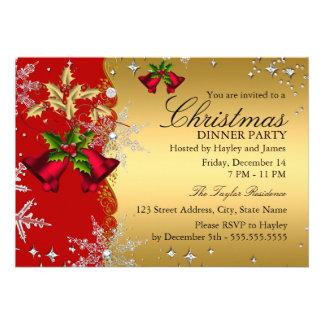 Fiesta de cena rojo de navidad del copo de nieve invitaciones personales