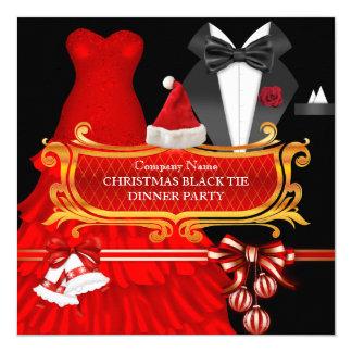 Fiesta de cena rojo del lazo negro de Navidad Invitación 13,3 Cm X 13,3cm