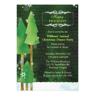 Fiesta de cena verde de navidad de los árboles alt comunicados