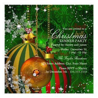 Fiesta de cena verde rojo de navidad del copo de invitaciones personalizada