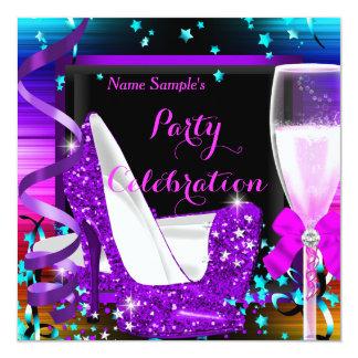 Fiesta de Champán cualquier púrpura de la Invitación 13,3 Cm X 13,3cm