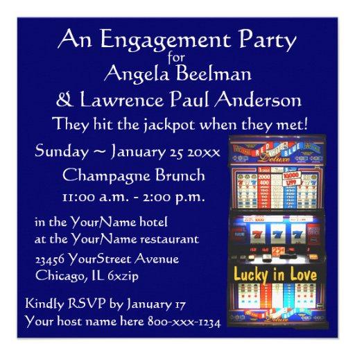 Fiesta de compromiso afortunado en amor invitaciones personalizada