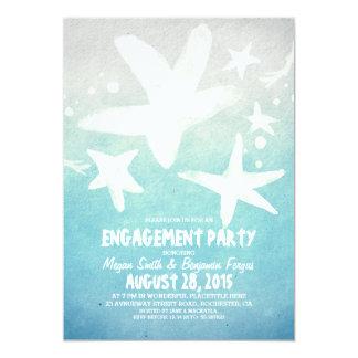 fiesta de compromiso azul de la playa de las invitación 12,7 x 17,8 cm