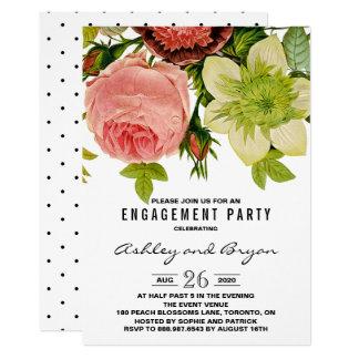 Fiesta de compromiso botánico del vintage de las invitación 12,7 x 17,8 cm