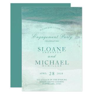 Fiesta de compromiso de la playa de la acuarela de invitación 12,7 x 17,8 cm