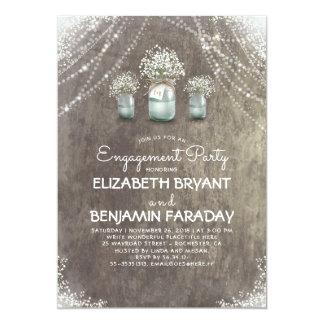 Fiesta de compromiso de la respiración de albañil invitación 12,7 x 17,8 cm