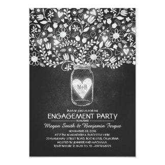 Fiesta de compromiso de las flores del tarro y de invitación 12,7 x 17,8 cm