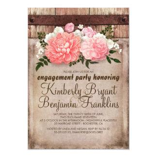 Fiesta de compromiso de madera del granero floral invitación 12,7 x 17,8 cm