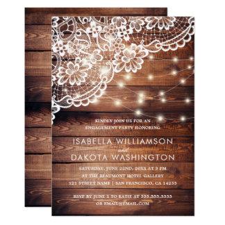 Fiesta de compromiso de madera rústico de las invitación 12,7 x 17,8 cm