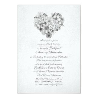 fiesta de compromiso del vintage del corazón de invitación 12,7 x 17,8 cm