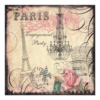Fiesta de compromiso elegante de la torre Eiffel y Invitación 13,3 Cm X 13,3cm