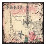 Fiesta de compromiso elegante de la torre Eiffel y Invitación