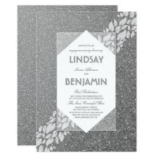 Fiesta de compromiso elegante de plata del vintage invitación 12,7 x 17,8 cm