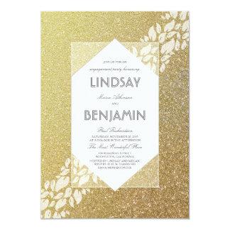 Fiesta de compromiso elegante del vintage del oro invitación 12,7 x 17,8 cm