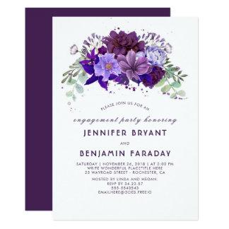 Fiesta de compromiso elegante floral púrpura invitación 12,7 x 17,8 cm