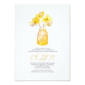 fiesta de compromiso floral amarillo de la invitación 12,7 x 17,8 cm