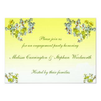 Fiesta de compromiso floral amarillo invitación 12,7 x 17,8 cm
