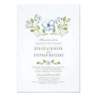 Fiesta de compromiso floral azul de la acuarela invitación 12,7 x 17,8 cm