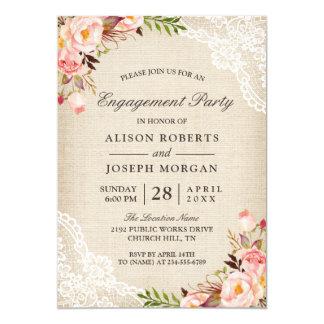 Fiesta de compromiso floral color de rosa rústico invitación 12,7 x 17,8 cm