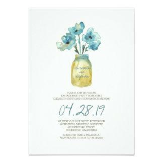 fiesta de compromiso floral de la acuarela invitación 12,7 x 17,8 cm