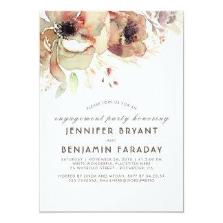 Fiesta de compromiso floral de la caída de las invitación 12,7 x 17,8 cm