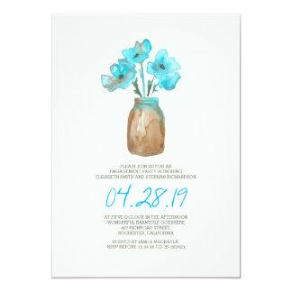 fiesta de compromiso floral de la turquesa de la invitación 12,7 x 17,8 cm