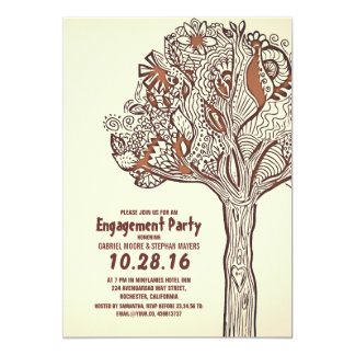 Fiesta de compromiso floral de las ramas del árbol invitación 12,7 x 17,8 cm