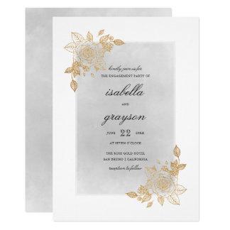 Fiesta de compromiso floral del brillo de la invitación 12,7 x 17,8 cm