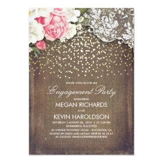 Fiesta de compromiso floral del oro del cordón de invitación 12,7 x 17,8 cm