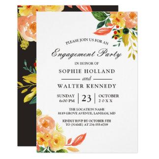 Fiesta de compromiso floral del otoño del invitación 12,7 x 17,8 cm