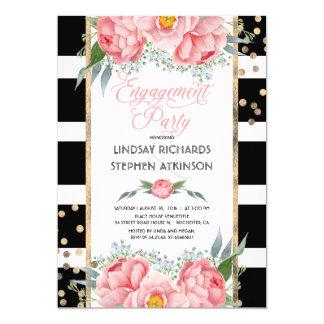 Fiesta de compromiso floral del rosa del confeti invitación 12,7 x 17,8 cm