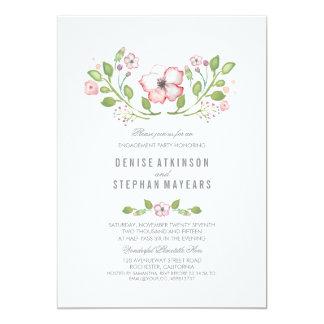 Fiesta de compromiso floral rosado de la acuarela invitación 12,7 x 17,8 cm
