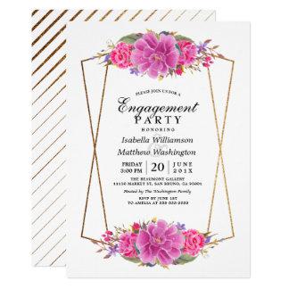 Fiesta de compromiso geométrico rosado del oro invitación 12,7 x 17,8 cm