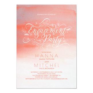 Fiesta de compromiso moderno rosado de la invitación 12,7 x 17,8 cm