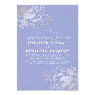 Fiesta de compromiso púrpura de la lavanda del invitación 12,7 x 17,8 cm