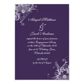 Fiesta de compromiso púrpura de las flores invitación 12,7 x 17,8 cm